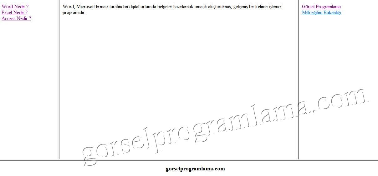 Gorsel Programlama » Çerçeve (Frame) Oluşturma Html-WebTasarım ve ...